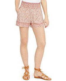Be Bop Juniors' Border-Print Smocked-Waist Shorts
