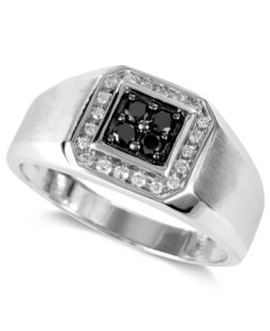 Gento by Effy Men's Black Diamond (1/5 ct. t.w.) and White Diamond (1/8 ct. t.w.) Square Ring in 14k White Gold