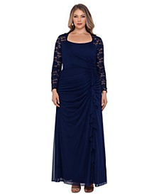 Plus Size Lace-Sleeve Gown