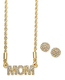 Gold-Tone Crystal Mom Pendant Necklace & Stud Earrings Set, Created for Macy's