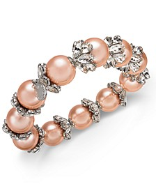 Silver-Tone Crystal & Imitation Pearl Stretch Bracelet, Created for Macy's