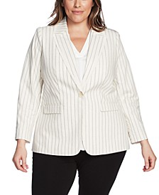 Plus Size Frayed-Trim Striped Blazer