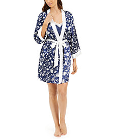 Linea Donatella Floral-Print Wrap Robe & Lace-Trim Chemise Set