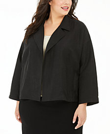Eileen Fisher Plus Size Organic Drape-Front Jacket