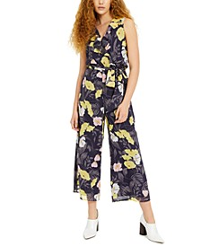 Cropped Floral-Print Chiffon Jumpsuit, Created for Macy's