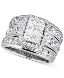 Diamond Princess 3-Pc. Bridal Set (4 ct. t.w.) in 14k White Gold