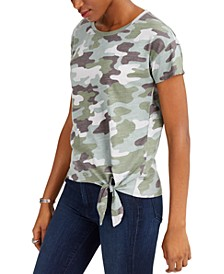 Cotton Camo Side-Tie T-Shirt