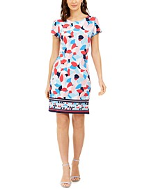 Border-Print Sheath Dress