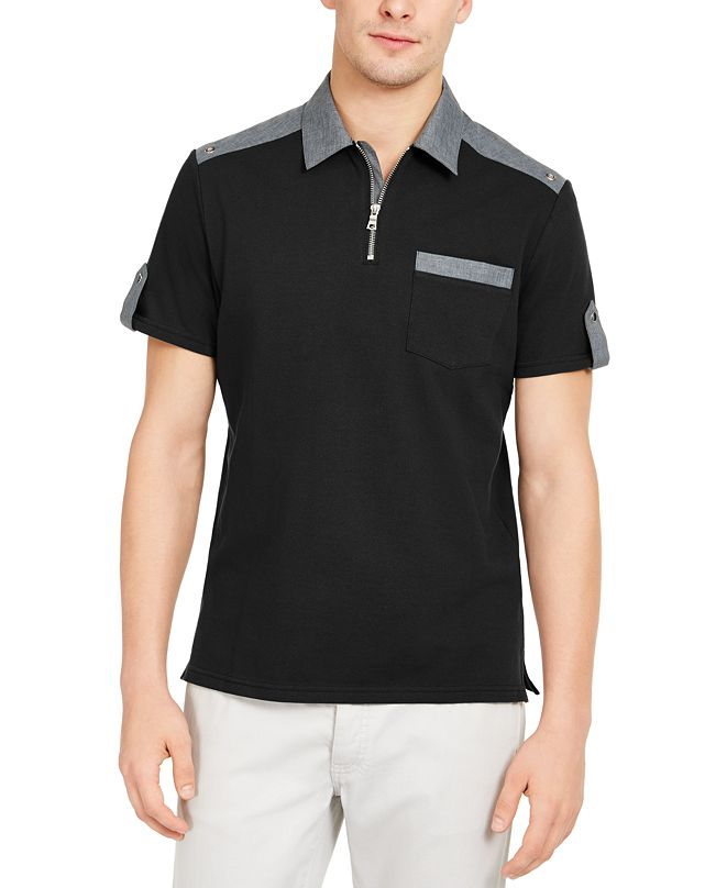 INC International Concepts INC Men's Colorblocked Zip Polo Shirt, Created for Macy's