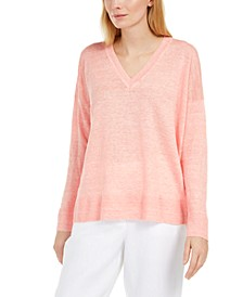 V-Neck Linen Sweater, Regular & Petite Sizes