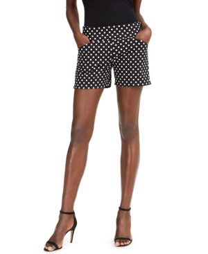 I.n.c. International Concepts Plus Size Polka Dot Bengaline Shorts, Created For Macy's
