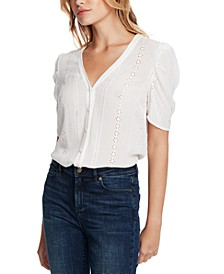 Eyelet Puff-Sleeve Crinkle Top