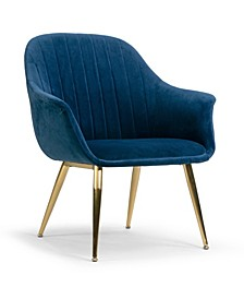 Angela Velvet Accent Chair with Metal Legs Stitching Accent