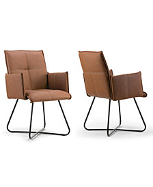 Glamour Home Set of 2 Ambel Modern Dining Chair with Metal Legs