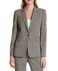 Petite Plaid One-Button Blazer