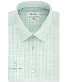 Calvin Klein Men's Steel+ Slim-Fit Non-Iron Performance Stretch Green Multi-Check Dress Shirt