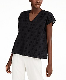 Organic Cotton Textured V-Neck Top