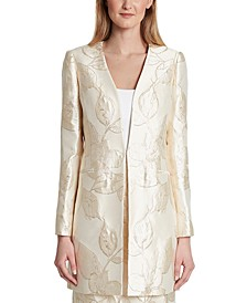 Metallic Floral Jacquard Open-Front Topper Jacket