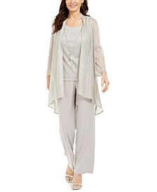 Plus Size 3-Pc. Metallic Jacket, Necklace Top & Pants Set