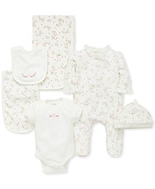 Baby Girls 6-Pc. Cotton Vintage Rose Gift Set