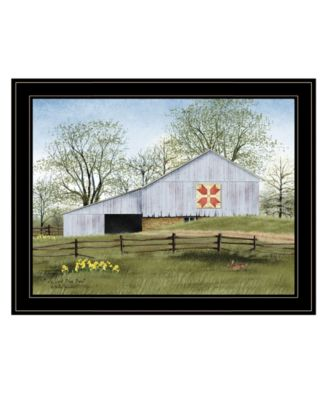 Tulip Quilt Block Barn by Billy Jacobs, Ready to hang Framed Print, Black Frame, 27