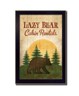Lazy Bear By Mollie B., Printed Wall Art, Ready to hang, Black Frame, 10