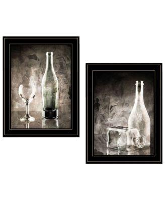 Moody Gray Glassware Still Life 2-Piece Vignette by Bluebird Barn, Black Frame, 15