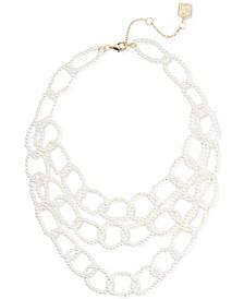 "Gold-Tone Imitation Pearl Bib Necklace, 18"" + 3"" extender"