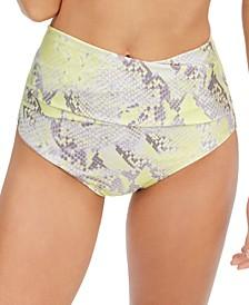 Snake-Embossed Tummy-Control Bikini Bottoms
