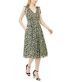 Ditsy Floral-Print Midi Dress