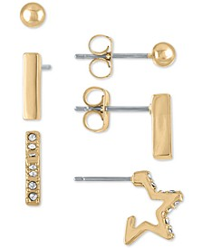 Gold-Tone 3-Pc. Set Stud Earrings