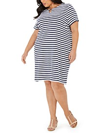 Plus Size Cotton Janna Striped Split-Neck Dress, Created for Macy's