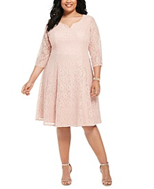 Plus Size Sequined Lace Dress