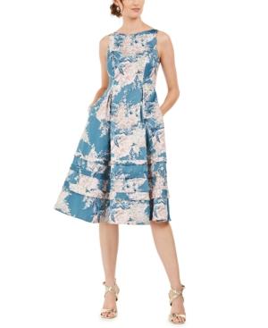 Adrianna Papell METALLIC JACQUARD FIT & FLARE DRESS