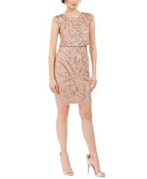 Adrianna Papell GEO SEQUINED BLOUSON DRESS