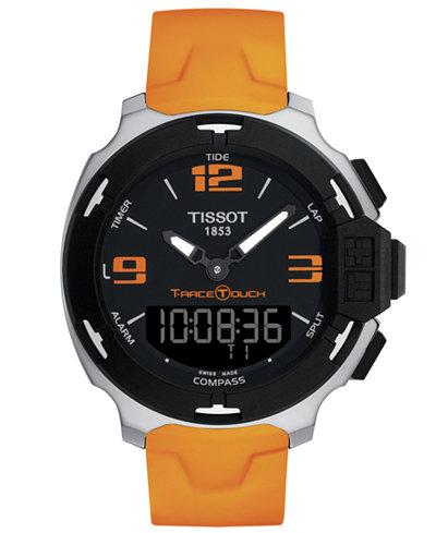 tissot watch men s swiss analog digital t race touch orange tissot watch men s swiss analog digital t race touch orange rubber strap 42mm