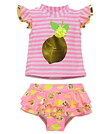 Infant Girls 2 Piece Rashguard Set Featuring A Bold Lemon Design Accented with Sequins