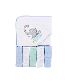 Baby Girls and Boys Elephant Bath Hooded Towel with 5 Washcloths, Pack of 6