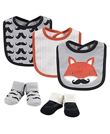 Baby Boys Mr. Fox Bib and Sock Set, Pack of 5