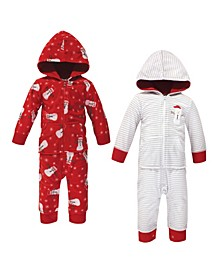 Baby Girls and Boys Santa Snowman Fleece Coveralls and Playsuits Jumpsuits, Pack of 2
