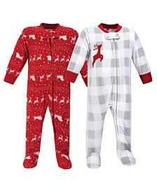 Baby Girls and Boys Santas Sleigh Fleece Sleep and Play, Pack of 2