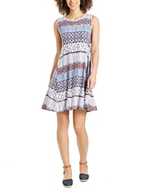 Plus Size Sleeveless Printed Swing Dress, Created for Macy's