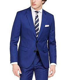 Men's Modern-Fit Bold Blue Solid Suit Jacket