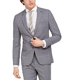 Men's Skinny-Fit Mid Blue Plaid Wool Suit Jacket