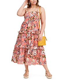INC Plus Size Cotton Tiered Floral-Print Maxi Dress, Created for Macy's