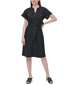 Tie-Waist Linen Shirtdress