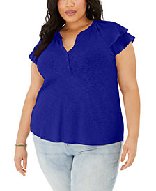 Style & Co Plus Size Flutter-Sleeve Top, Created for Macy's