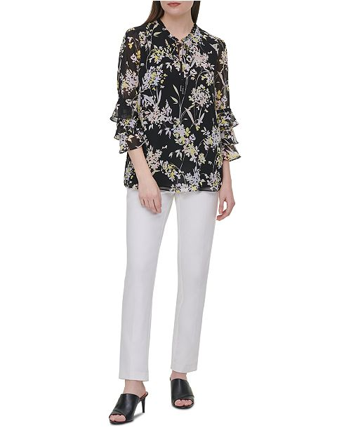 Calvin Klein Printed Tiered-Sleeve Top