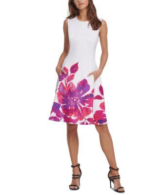 Floral-Border Fit & Flare Dress