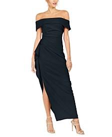 Petite Off-the-Shoulder Side-Gathered Dress